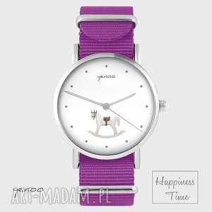ręcznie zrobione zegarki zegarek - konik na biegunach - amarant, nato