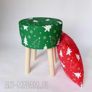 Prezent Fjerne M zielona choinka - stołek w stylu skandynawskim, dom, puf,