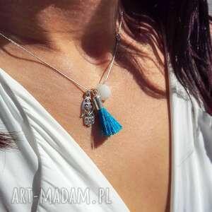 hand-made naszyjniki poplavsky naszyjnik ręka fatimy niebieski chwost srebro 925