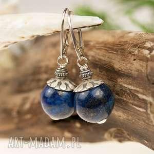 Prezent a452 Eleganckie kolczyki srebrne z lapis lazuli, kolczyki-srebrne