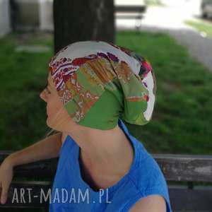 czapka damska na podszewce szyta patchworkowo - czapka, etno, boho, kwiaty, patchwork