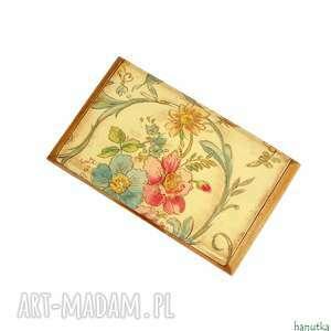 etui kwiatowy - wizytownik, na karty kredytowe, prezent