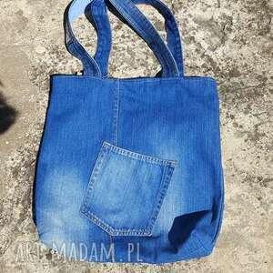 Prosta jeansowa Torba z Kieszonką, ekotorba, torba, jeans, blujeans, recykling, denim