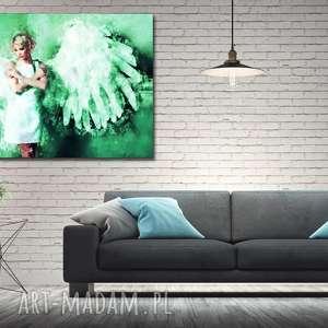 obraz duże ANIOŁ 1 zielony -120x70 płótnie kobieta, obraz, anioł