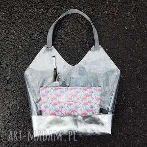 na ramię torba xl transparentna, shopperka, folia, plażowa