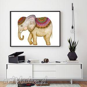 prezent na święta, grafika słoń a3, słoń, słonik, indyjski, plakat, ilustracja