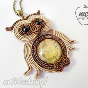 handmade wisiorki wisiorek sowa - z grafiką zegarem beżowo-brązowa bez filcu