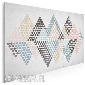 obraz na płótnie - trójkąty kropki pastele 120x80 cm (73801)