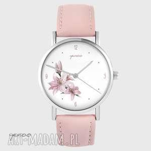 zegarki zegarek - różowa lilia pudrowy róż, skórzany, zegarek, bransoletka
