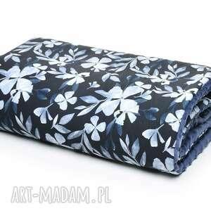 kocyk kołderka 100x135 minky bawełna blue flowers, wyprawka