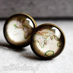 Obieżyświat nostalgiczne kolczyki wkręty, glob, mapa, świat, globus, mapy, wkrętki