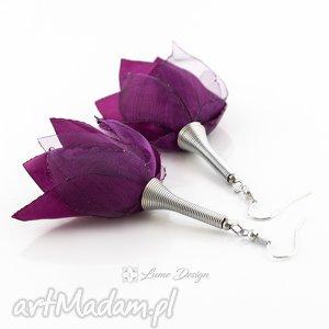 kolczyki silk śliwkowe kwiaty, materiałowe, lekkie, długie, duże, wiosna