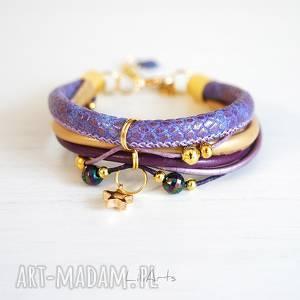 handmade bransoletka - gwiazdka fioletowa, złota