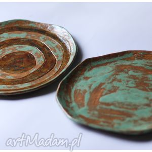 ręczne wykonanie ceramika zestaw 2 talerzy etno mazaki