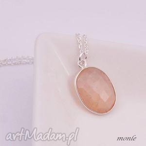Kamień słoneczny, wisiorek - ,cielisty,wisiorek,lato,srebro,kamień,słoneczny,