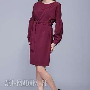 sukienka z bufiastymi rękawami h028 bordo - sukienka, dopasowana, elegancka, kobieca