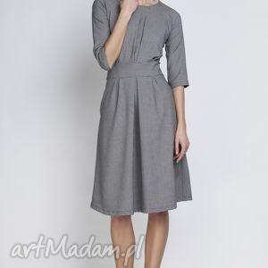 sukienki sukienka, suk122 pepito, rozkloszowana, kieszenie, taliowana, chrzciny