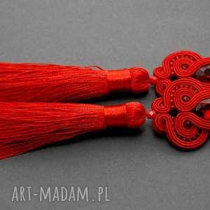 klipsy czerwone sutasz, sznurek, wiszące, długie, chwosty, wieczorowe