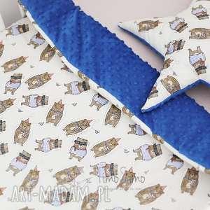 Kołderka minky Wesołe Zwierzaki (mały, Niebieski - wesoły niedźwiadek),