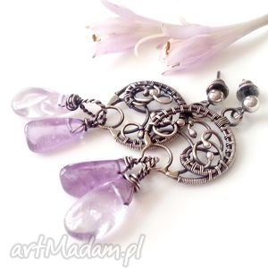 Violet - kolczyki z ametystem, delikatne, ażurowe, kobiece, bajkowe, misterne