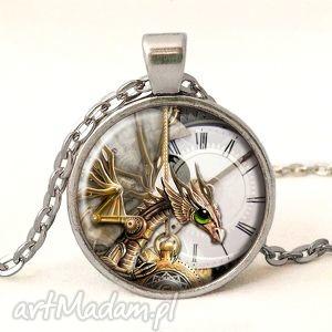 ręcznie zrobione naszyjniki steampunkowy smok - medalion z łańcuszkiem