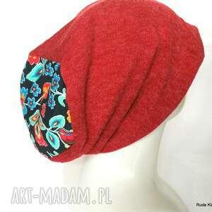 czapka damska bordowa wiosenna dobra na dredy duża, czapka, dredy, etno, boho