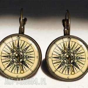 kompas - duże kolczyki wiszące, marynarskie, prezent
