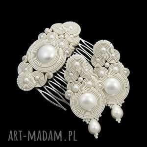 komplet ślubny syline pearl soutache, ekskluzywny, zestaw, ślubny, rękodzieło