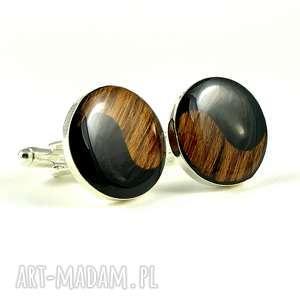 męska spinki - simply yin yang black, spinki, yang, prezent, oryginał
