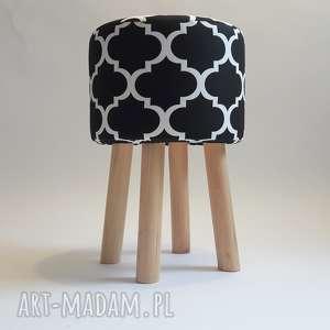 pufa koniczyna maroco czarno - biała 2 45 cm, puf, taboret, hocker, vintage