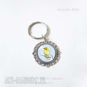 breloczek - żółty ptaszek, brelok, breloczek, ptak, grafika, unikatowy, prezent