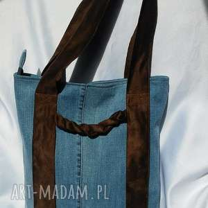 handmade na ramię torba z jeansu brązowymi uchwytami
