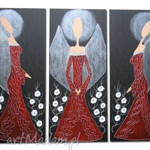 ręcznie malowane Anioły CZERWONO CZARNE - A25 90x70cm, anioły, anioł,