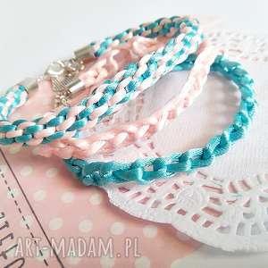 ręcznie wykonane bransoletki komplet 3 bransoletek - pastelowy róż błękit