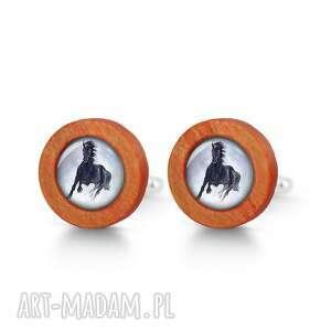 czarny koń - drewniane spinki do mankietów red - spinki mankietów męskie