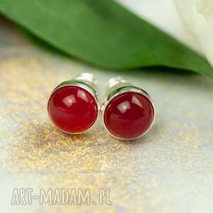kolczyki drobinki z czerwonym agatem carmen d106, małe kolczyki, czerwone