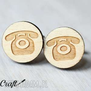 drewniane spinki do mankietów telefon, spinki, drewniane, ekologiczne