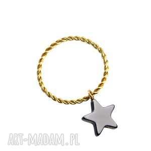 poplavsky pierścionek serce gwiazdka 925 pozłacane, pierścionek, srebro