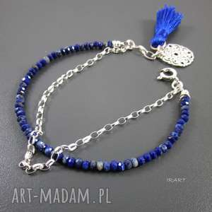 Lapis lazuli - delikatna bransoletka, lapis, srebro