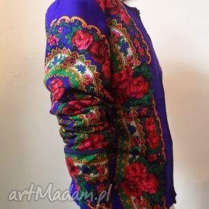 ręcznie robione kurtki folk design - szafirowa kurtka letnia