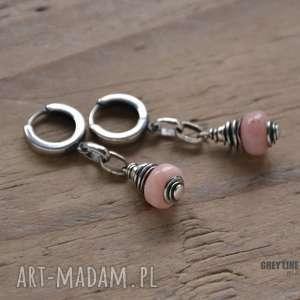 Różowy peruwiański opal - kolczyki na biglach zamkniętych, srebro, opal,