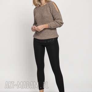 raglanowy sweter, swe176 mocca mkm, raglanowy, jesień