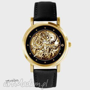 Prezent Zegarek - Steampunk women, men czarny, skórzany, złoty, zegarek, skórzany