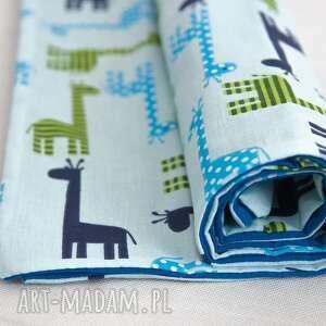 letni, cienki kocyk rozbrykane żyrafy, bawełniany, cienki