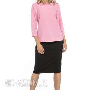 bluzka z kołnierzem w stylu jackie kennedy, t243, różowy, elegancka, bluzka, styl