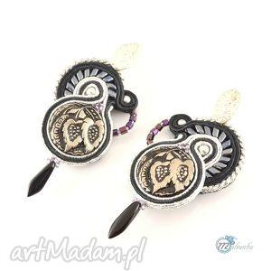 Czarno-srebrne kolczyki sutasz - ,kolczyki,sutasz,soutache,klasyczne,sztyfty,