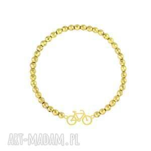 bransoletka z hematytów z rowerkiem - minerał, prezent
