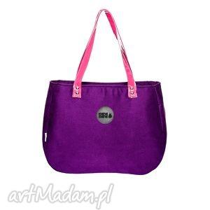 torba damska aktówka lila, aktówka, fioletowa, wygodna, pojemna, kieszonki na ramię