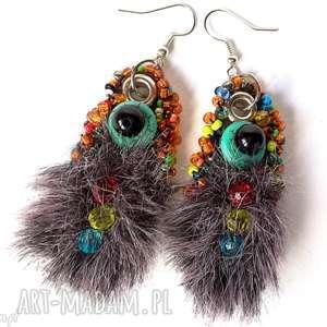 Prezent kolczyki handmade z futrem bohemian etniczne, klipsy, boho, etno, kolorowe