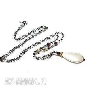 perłowa kropla vol 2 -naszyjnik, srebro oksydowane, pozłacane, granat, perły